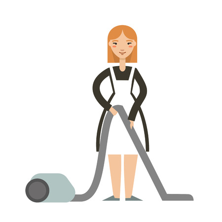 Vector illustration of housewife  with a vacuum cleaner. Smiling  maid with vacuum cleaner. Housekeeping concept.