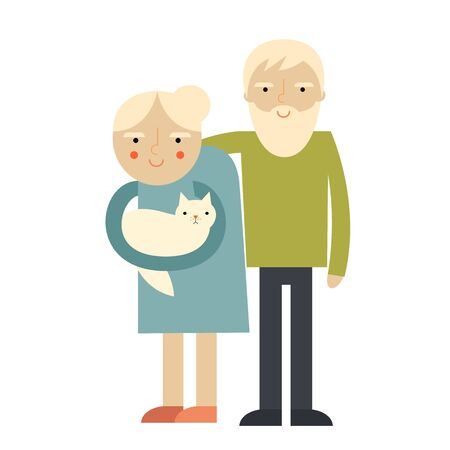 older couple: Couple of older people. Grandmother and grandfather illustration greeting.