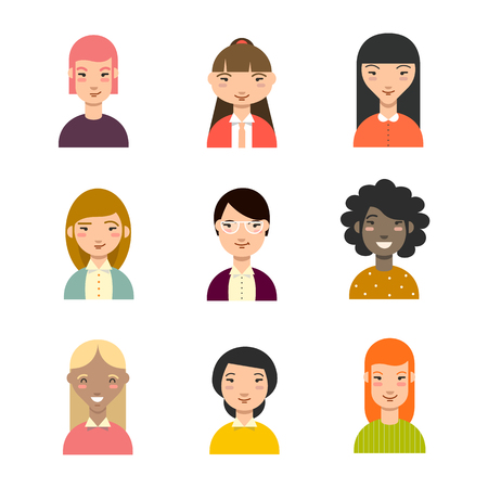 blonde curly hair: Set of diverse women avatars. Business avatars set. Different nationalities, clothes, hair styles. Vector.