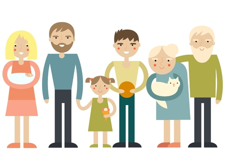 happy couple at home: Big happy family portrait. Cartoon vector characters. Isolated on background. Father, mother, son, daughter, grandparents.