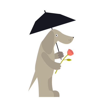 Cute dog with umbrella and rose waiting for lover. Cartoon vector illustration of dog lover isolated on background. Romantic design element.