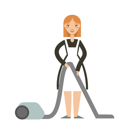 homemaker: Vector illustration of housewife  with a vacuum cleaner. Smiling  maid with vacuum cleaner. Housekeeping concept.