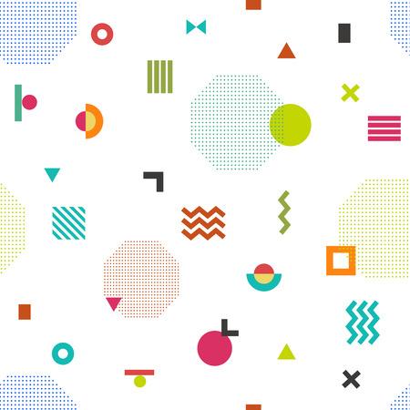 memphis: Colorful geometric seamless pattern. Memphis style.