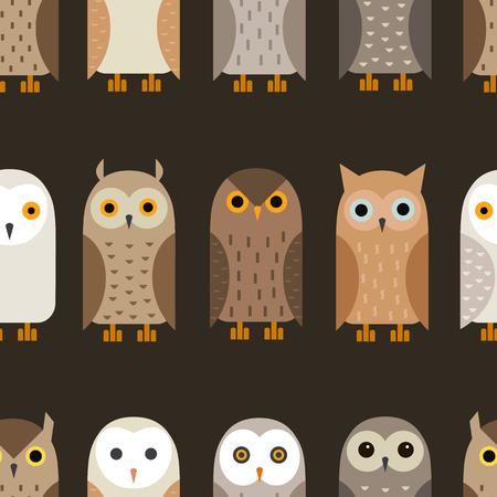 tawny: Vector owl Pattern. Barn owl, snowy owl, burrowing owl, West American owl, eagle owl, long-eared owl, tawny owl, the North American owl.