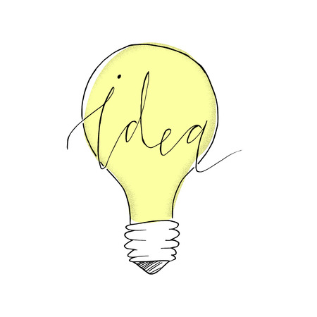 Vector light bulb illustration with hand lettering. Concept of idea. Doodle hand drawn sign. Handdrawn illustration made in vector.