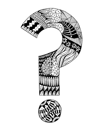 Hand drawn question mark in zentangle style. Made in vector. Vector tribal decorative element isolated on background.