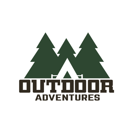 Camping and outdoor adventure  logo, design element with text. Foto de archivo
