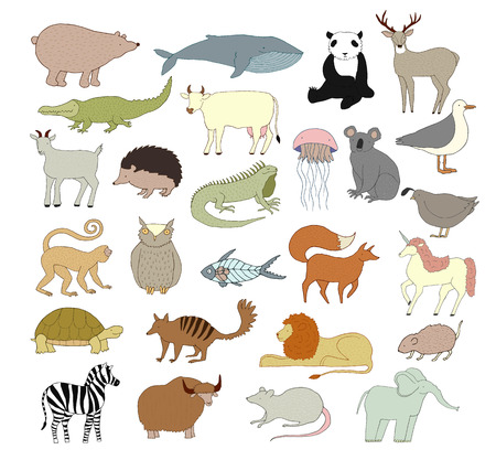 Big vector animal collection isolated on a white background. Collection of cute cartoon animals, birds and sea creatures. Alphabet illustration.  Hand drawn illustration made in vector. Stock Photo