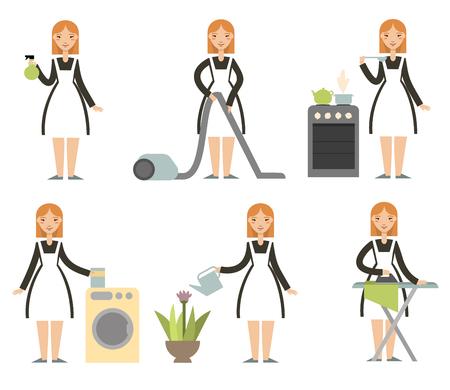 set casalinga. Donna delle pulizie dei cartoni animati. Personaggio dei cartoni animati. casalinga multitasking. pulizia governante donna, cucinare, lavare, stirare. Vettore.