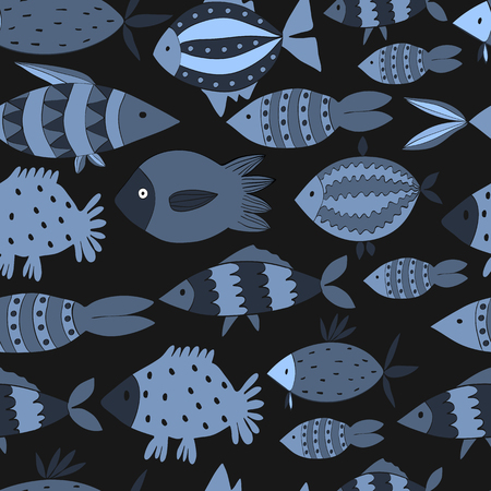childish: Cute seamless pattern wits fishes. Hand drawn illustration made in vector. Funny childish pattern.