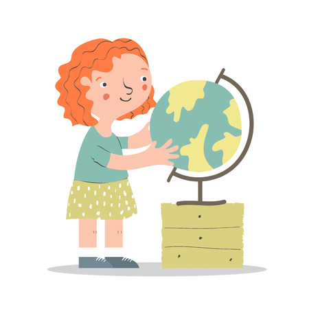 first grader: Cartoon little girl with globe. Kid character. Girl learning geography. Cartoon vector character. Illustration