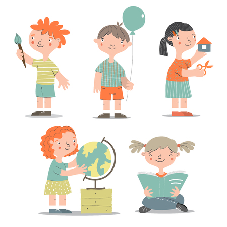 scholarship: Various learning and studying kids set.Cartoon children characters.Smiling, reading, crafting, studying children.