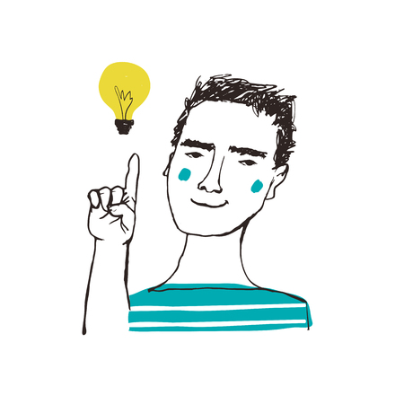 Problem solution concept. Vector sketchy illustration. Man thinking  with light bulb. Creative idea. Çizim