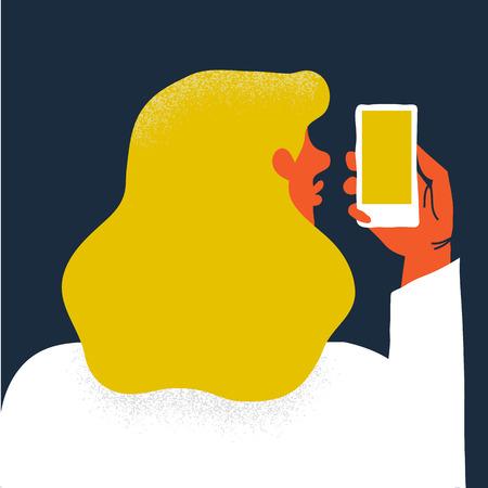 Creatieve vectorillustratie. Vrouw met smartphone maakt selfie.