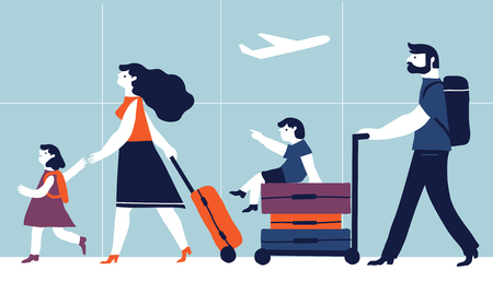 Parents with children are going on vacation. Vector creative illustration  on blue  background. Family travel.