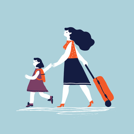 Woman with a luggage bag and with child going on vacation. Vector creative  illustration. Illustration