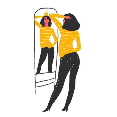 Narcissistic woman character looks at mirror. Vector illustration. Narcissism concept.