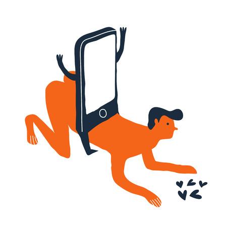 Smartphone addiction vector illustration. Creative vector illustration. Mobile dependence. Illustration
