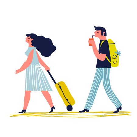 Couple traveling together. Creative vector concept. Honeymoon concept. Young man and woman with luggage are going on vacation.