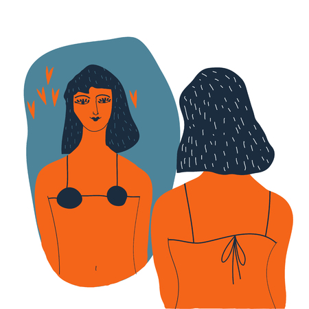 Narcissistic woman character looks at mirror. Woman   in lingerie looks in the mirror. Vector illustration. Narcissism concept. Teenager growing concept. Illustration