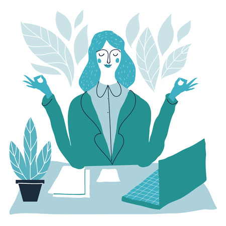 meditates: Office worker relaxes and meditates in the lotus position. Business woman meditating.  Vector handdrawn creative illustration. Illustration