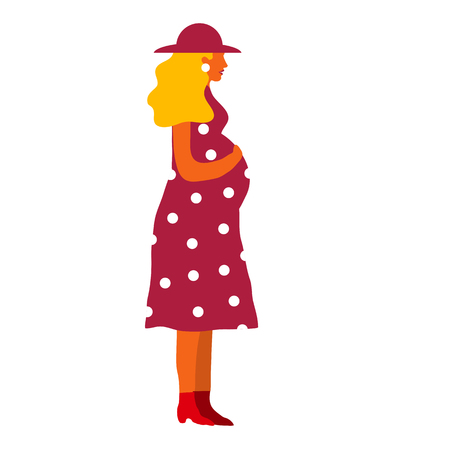 Pregnant woman in dress. Waiting for baby vector illustration.