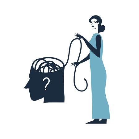 tecla enter: Ilustración del vector del concepto de la psicoterapia. Hombre en la depresión. Enredada pelota en la cabeza. ilustración de la psicología. Vectores