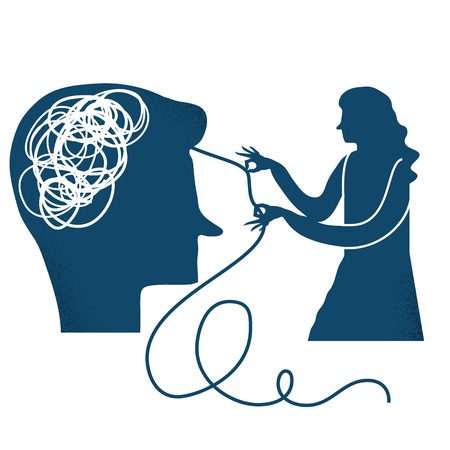 untangle: Psychotherapy, psychology, mental healing concept. Vector illustration.