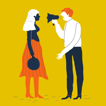 Couple man and woman characters quarrel. Vector illustration. Divorcing couple vector concept. Family conflict. Creative illustration.