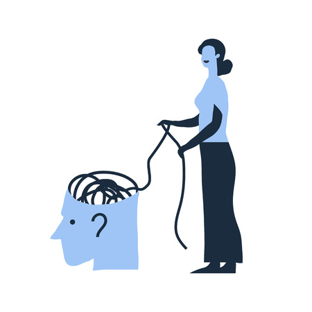 Psychotherapy, psychology, mental healing concept. Creative vector illustration. Woman in white dress unravels the tangle.