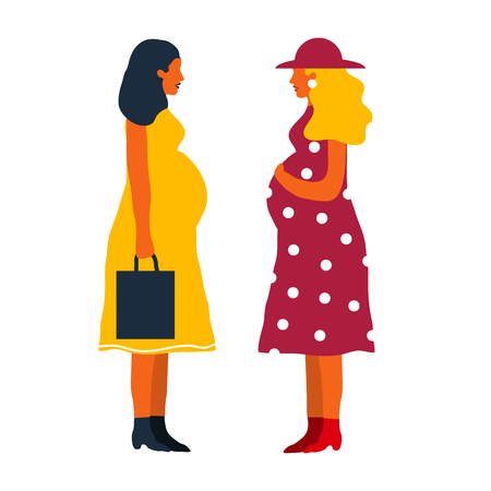 Two pregnant  women discuss during their pregnancy. Happy mothers.  Pregnansy concept. The joy of motherhood.