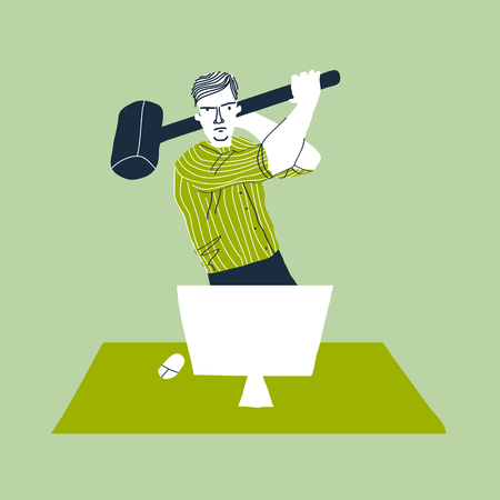 Angry  employee with hammer. Creative vector illustration on green background. Exasperated office worker.