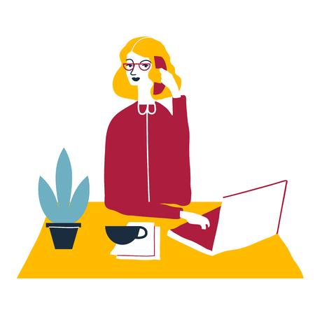tax accountant: Woman financial accountant. Secretary vector illustration. Young businesswoman. Creative modern vector illustration.
