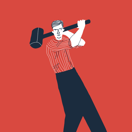 Angry man with hammer. Creative vector illustration on red background. Illustration