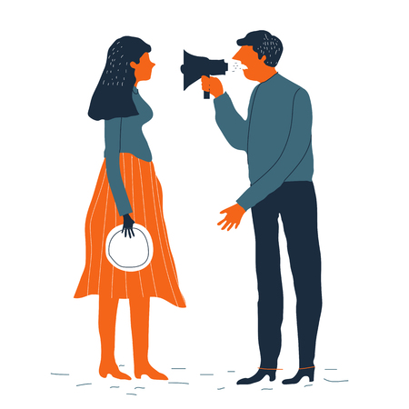 disagree: Couple man and woman characters quarrel. Vector illustration. Divorcing couple vector concept. Family conflict. Creative style. Illustration