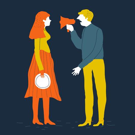 I personaggi delle coppie uomo e donna litigano. Illustrazione vettoriale Divorzio concetto di coppia vettoriale. Conflitto familiare Illustrazione creativa