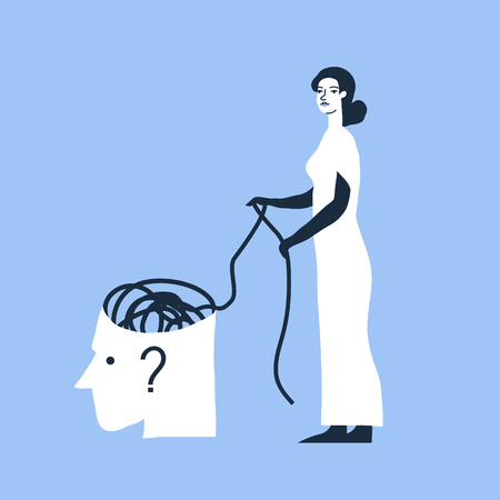 untangle: Psychotherapy, psychology, mental healing concept. Creative vector illustration. Woman in white dress unravels the tangle.
