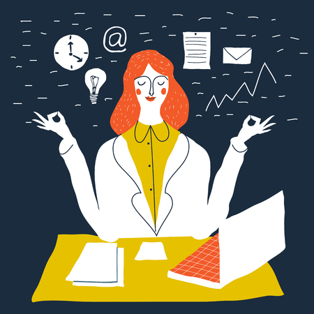 Office worker relaxes and meditates in the lotus position. Business woman meditating. Vector cute handdrawn creative illustration. Cute beautiful young woman at work.