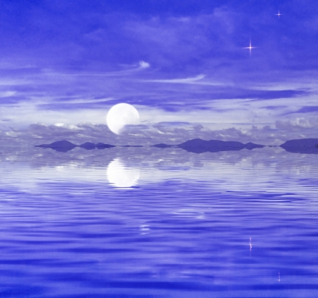 full moon on the sky water reflection photo