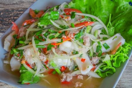 cellophane: Yum Woon Sen  Thai cellophane noodle salad wiht seafood