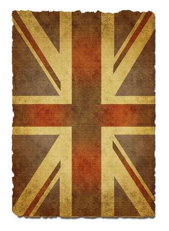 Old  paper Union Jack on white background photo