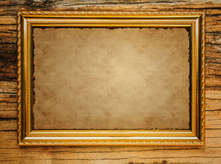 distressed wood: Old Paper in picture frame with wooden  Stock Photo