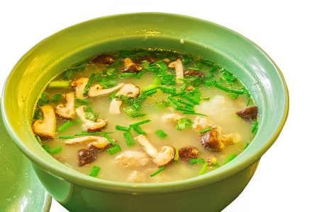 Rice Gruel with pork and mushroom