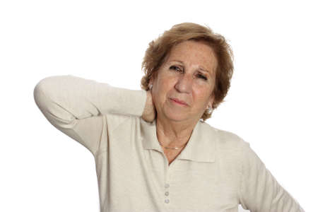 Seniors woman suffering from neck pain neck rubs to relieve your pain photo