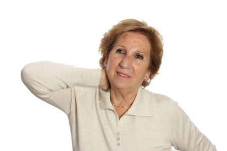 Seniors woman suffering from neck pain neck rubs to relieve your pain Stock Photo - 14186251