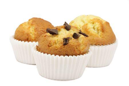pips: Drie muffins ecologische Die van het centrum met pitten van chocolade Stockfoto
