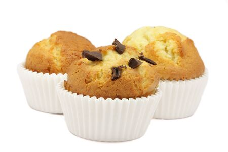 pips: Three muffins ecological  That of the center with pips of chocolate Stock Photo