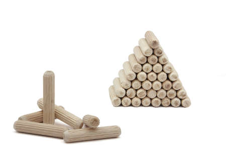 assemble: Spikes of wood used in carpentry to assemble tables Stock Photo