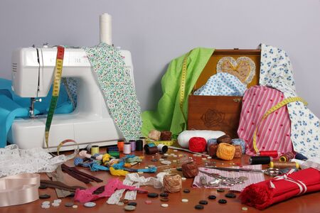 needle lace: Objects and helpful own a sewing amateur for various sewing jobs Stock Photo