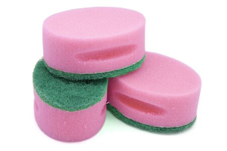 Pink Scourer used to clean dishes and other household chores